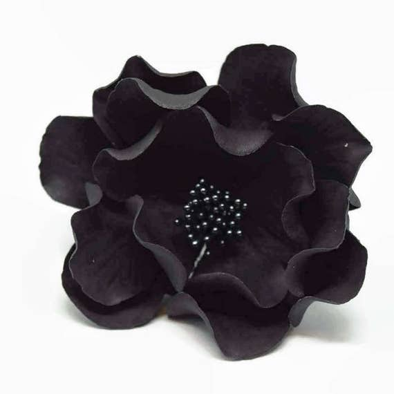 Open Rose Sugar Flower in Black for wedding cake decorations, gumpaste flowers, fondant cake toppers