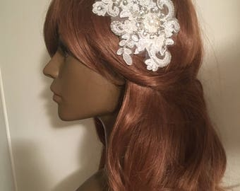 Handmade Venice Lace Beaded Hairpiece Fascinator Bridal Wedding Formal