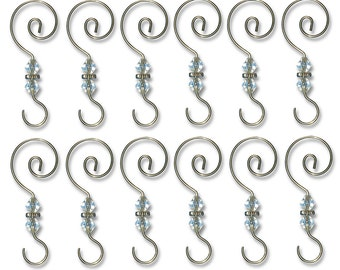 Set of 12 Decorative Silver S Hooks with a Clear Bead