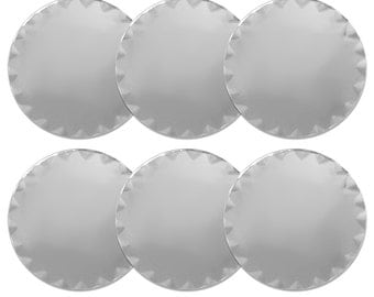 3 Inch Glass Round Mirror with Scalloped Edge - Set of 6