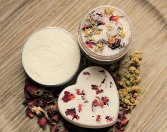 Rose Ylang Ylang Gift Set, Spa Gift Set, Gift Basket, Vegan Gift, Organic Body Butter, Bath Soak, Bath Bomb, Bath Salts, New Mom Gift Basket