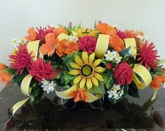 Cemetery Saddle Arrangement with Sunflowers,  Summer Cemetery Headstone Arrangement