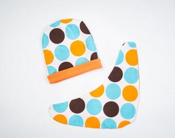 Big Dots/Orange Cotton Cap with Scarf