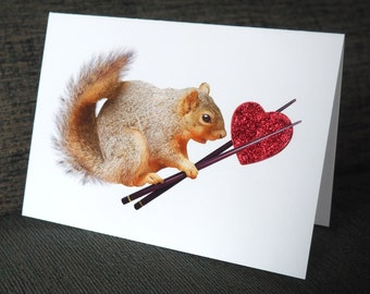 Squirrel with Red Heart in Chopsticks Glitter Card, Squirrel Valentine's Day Card, Squirrel Love