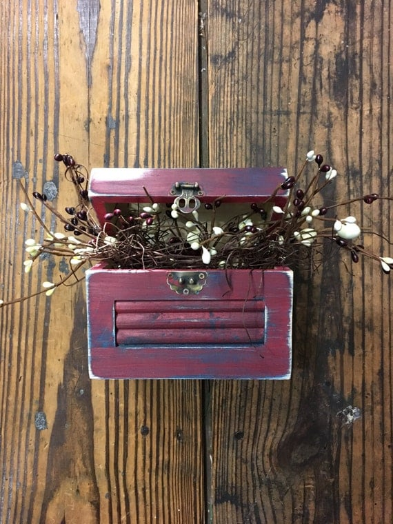 """6"""" Mini Rustic Distressed Chest with Berry Decor"""