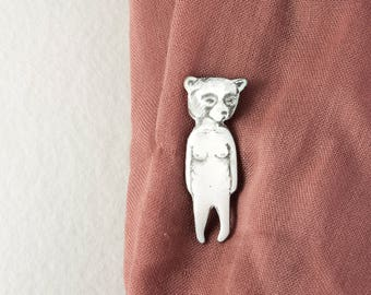 Bear Brooch, Hand Drawn Brooch, illustrated brooch, brooch pin badge, hand drawn jewelry, copper brooch, Illustration brooch, enamel brooch