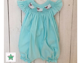 Smocked Lamb Bubble, Smocked Easter Bubble, Girls Smocked Bubbles