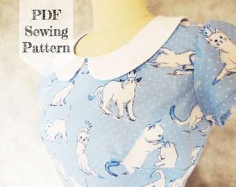 Short Sleeve Peter Pan Collar Dress PDF Sewing Pattern - cat, short cap sleeve, kitty, printable