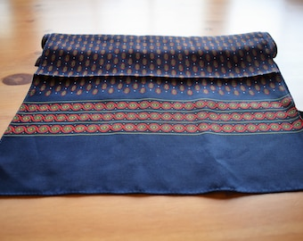 Vintage oblong navy silk scarf