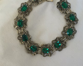 Silver filigree chain with green rhinestones bracelet