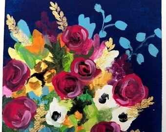 5 x 5 original acrylic floral painting, vibrant home decor, wall art, flower art, bouquet painting