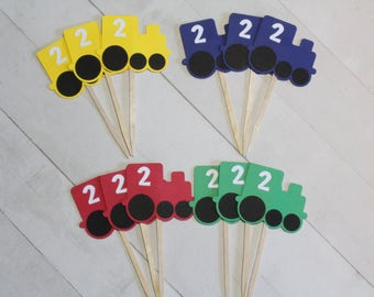12 Train Cupcake Toppers - Red, Blue, Green, Yellow  - CHOOSE YOUR COLORS | Personalized Number | Kids Train Birthday Theme