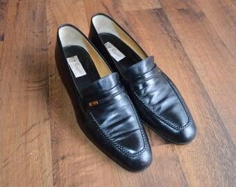 Vintage Vtg GUCCI Mens US Size 10.5 EU 43.5 Leather Slip On Loafers Shoes Black