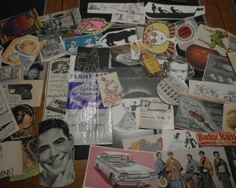 56 Piece Ephemera Pack Small Vintage Images Color B & W Collage Mixed Media Altered Art