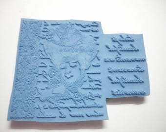 """Unmounted Rubber Stamp Phrase Today's Beautiful Moments are Tomorrow's Beautiful Memories Lady's Head 3"""" x 3.75"""" Excellent Condition Backed"""