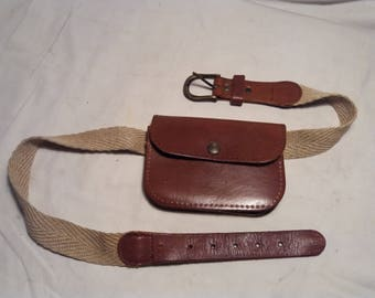Vintage Brown Leather Pouch Belt - SET