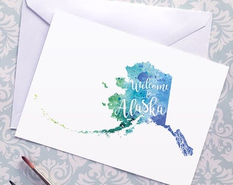 Alaska Watercolor Map Greeting Card, Welcome to Alaska Hand Lettered Art, Gift or Postcard, Giclée Print, Map Art, Choose from 5 Colors