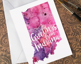 Indiana Watercolor Map Greeting Card, Greetings from Indiana Hand Lettering, Gift or Postcard, Giclée Print, Map Art, Choose from 5 Colors