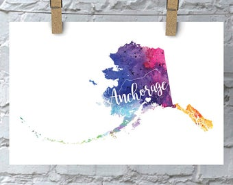 Custom Alaska Map Art, Alaska Watercolor Heart Map Home Decor, Anchorage or Your City Hand Lettering, Personalized Giclee Print, 5 Colors