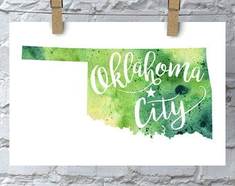 Custom Oklahoma Map Art, OK Watercolor Heart Map Home Decor, Oklahoma City or Your City Hand Lettering, Personalized Giclee Print, 5 Colors