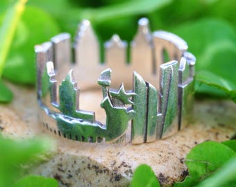 New York Cityscape - Skyline Statement Ring - Mother's Day Gift - Anniversary Gift - For Her - for Him
