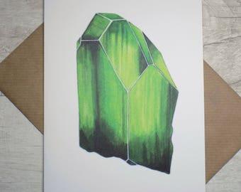 Greeting Card - Green Peridot Crystal - August Birthstone - Birthday - Recycled - Gemstone - Watercolor Illustration Print