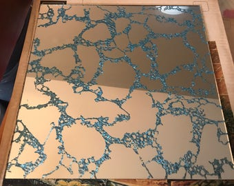 NIB Vintage Mirror Tiles w/Rare Teal Sparkle Marbled Through