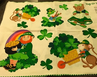 "VIP  Cranston Print Fabric Cut And Sew Irish Appliques Leprechaun Clover Shamrock St. Patrick's Day Green Top Of The Morning 44 "" x 17 """