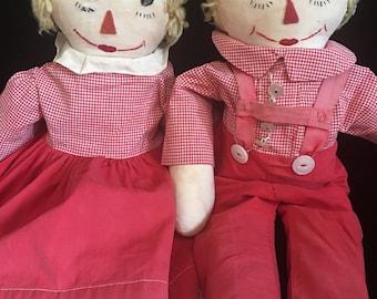 1950's Rare Blonde Raggedy Ann & Andy Dolls
