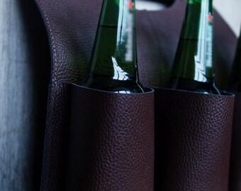 Leather bottle holder. Beer tote. Beer bag. Leahter bottle bag. Picnic bag. Beer carrier. Wine bag. Leather bag. Gift idea. Six pack carrier