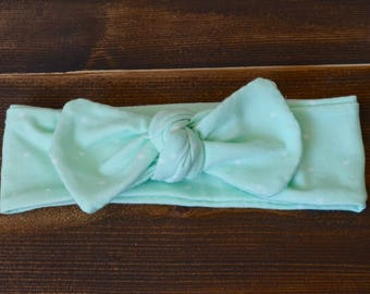 Mint Green Headband, Polka Dot Headband, Top Knot Headband, Baby Headband, Toddler Headband, Adult Headband, Spring Headband, Adjustable