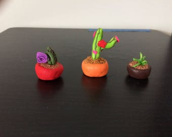 Deskmates - Mini Clay Cactus Plants (set of 3)