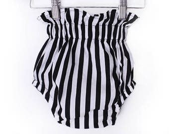 Black and white stripe ruffle top SHORT/BLOOMER diaper cover - baby GIRL