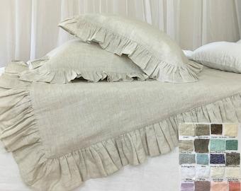 Ruffle linen duvet cover features easy flow ruffles, shabby chic bedding, linen bedding, available in queen duvet cover, king duvet cover