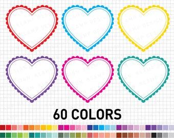 Heart Clipart, Digital Hearts, Valentine Clip Art, Love Clipart, Colourful Hearts Clip Art, Heart Frame Clipart, Hearts Instant Download