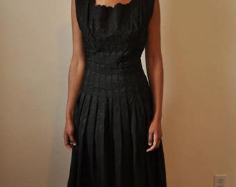 Vintage 1950s Black Carlye Dress with Scalloped Trim and Embroidery