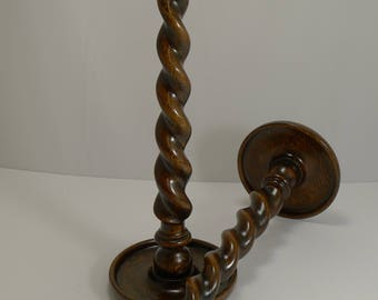 "Impressive Towering 18"" Oak Barely Twist Candlesticks c.1900"