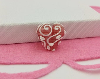 Pink Heart Bead - Valentines Day Heart - Pastel Pink - Leaf and Vine - Love Heart Beads - Handmade Beads - Glass Heart- Heart Token- Pastels