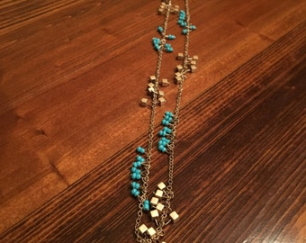Teal and Gold Cross Necklace
