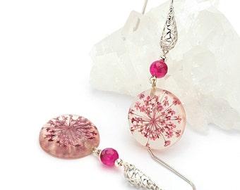 Agate earrings, Resin earrings, Gemstone earrings, Silver earrings, Pink earrings, Pressed flower earrings, Fuchsia earrings, Flower earring