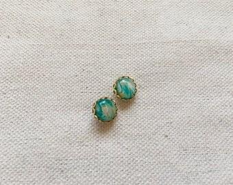 Turquoise earrings, boho earrings, gift for her, gold earrings, marble earrings