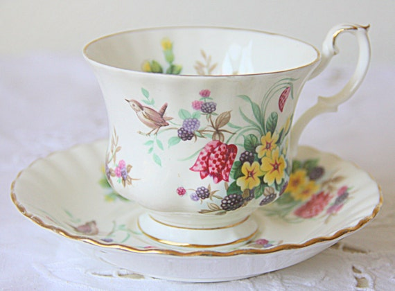 Hard To Find Vintage Royal Albert Bone China Country Life Series 'Spring Woods' Cup and Saucer, Gentleman Size, England