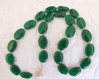 Emerald Jade and Silver Necklace