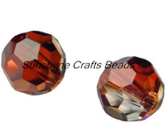 Swarovski Crystal Beads 12 Pcs 5000 Series CRYSTAL RED MAGMA 6MM Faceted Round Bead