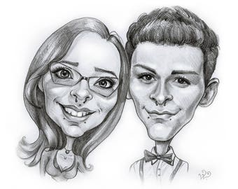 Couple Pencil Caricature Portrait from your Photo
