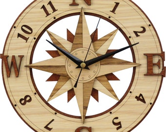 Compass Clock in wood - Wind Rose - Windrose