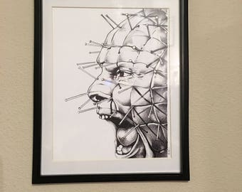 "Hellraiser pinhead art print 8.75"" x 11.5"" inches/hand drawn/horror decor/cynobite/clive barker/portrait/religious/demons/home decor/wallart"
