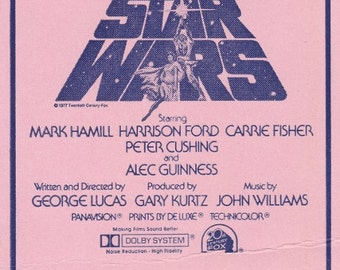 Original 1977 STAR WARS special press screening ticket