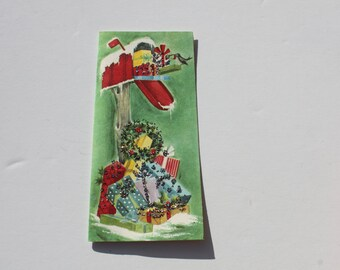 Vintage Unused Glitter Christmas Card, Mailbox full of Gifts, 1950s 50s Holiday Christmas Card with envelope