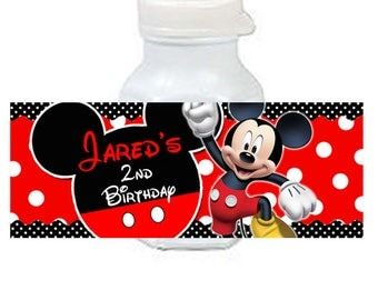 30 Mickey Mouse Birthday Mini Bubble labels